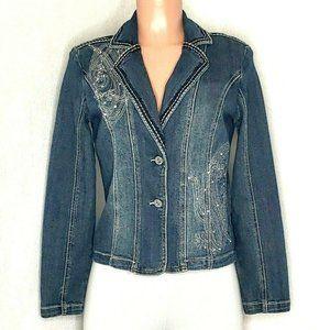 Reba Embellished Denim Jacket Size Rhinestones